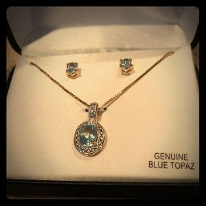 Jewelry - Blue Topaz necklace and earring set